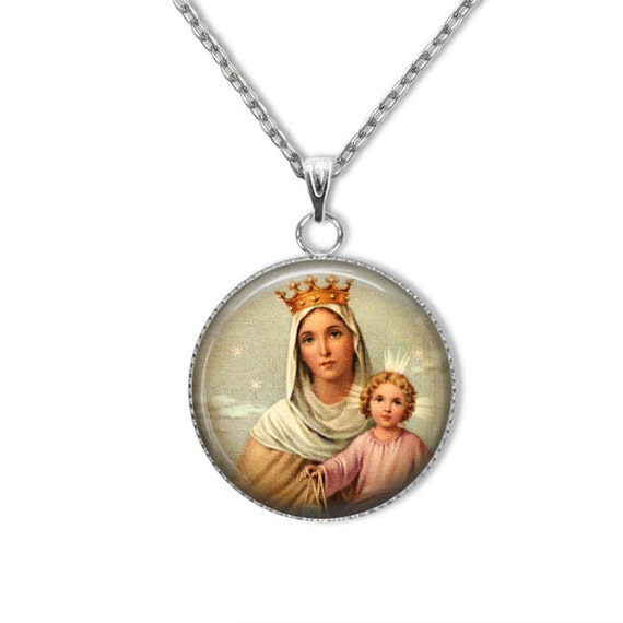 Our Lady of Mt Carmel stainless steel Pendant, 18 or 24 inch chain - Brown scapular, Our Lady of Mount Carmel