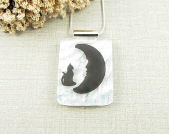 Black Cat Pendant - Dichroic Glass Cat Necklace - Fused Glass Black Cat Necklace - Moon Pendant - Cat Lover Jewelry - Handmade Dichroic