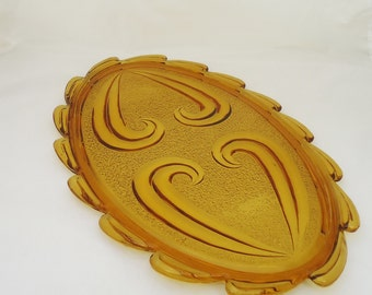 Vintage Amber Glass Bagley Tray, Amber Glass Dressing Table Tray, 1930s Bagley Glass
