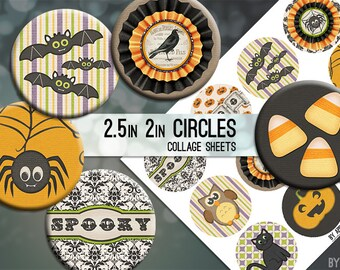 Digital Collage Sheet Halloween Cat Bat Pumpkin Spider 2.5 Inch and 2in Circle Download Printable Images for Gift Tag Cards Scrapbooking JPG