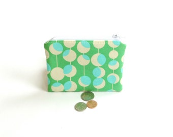 Change pouch, coin purse, blue green small wallet, zipper pouch credit card case for women