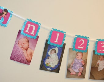 Mermaid Glittery First Year Photo Banner Under the sea Birthday Party