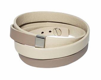 Gray genuine Leather Bracelet women
