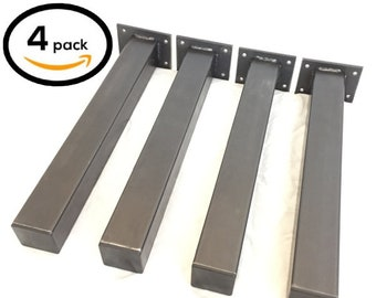 """4 Pack - (2"""" Wide) (Size Range: 2-40""""L) Square Tube Leg Rustic Reclaimed Metal Coffee Table Square Tubing Legs Steel Brackets Modern hairpin"""