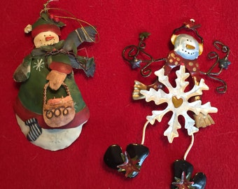 Free Shipping Holiday Sale Set of Two Snowmen Ornaments
