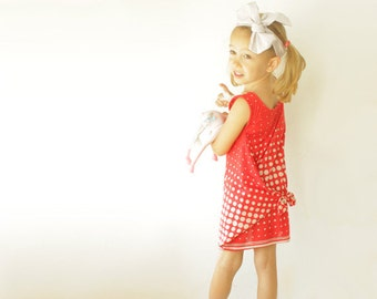 Red DRESS - girls dress sewing pattern - simple summer toddler dress - size 3 year to 8 years