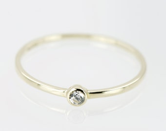 9k Yellow Gold Bezel Solitaire Dainty Ring,  Minimalist Ring, Everyday Jewelry, Thin Ring, Simple Ring