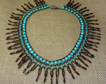 Turquoise and Antique Bronze Netted Necklace