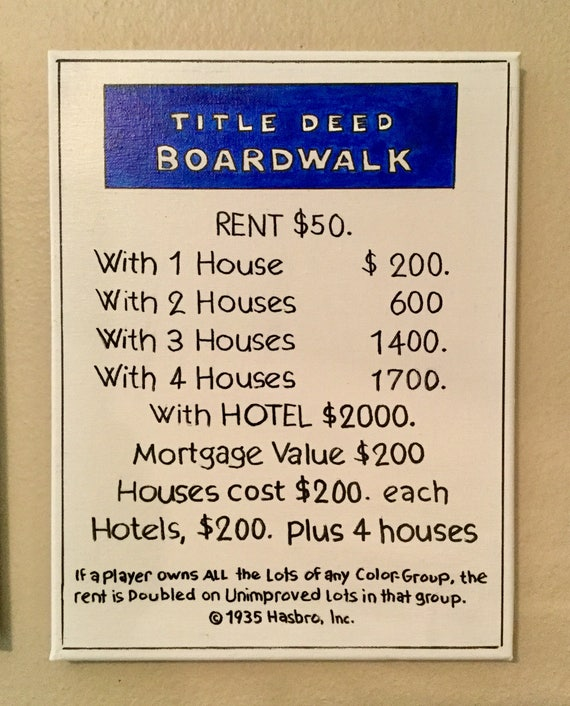 Boardwalk monopoly art title deed home decor original painting like this item malvernweather Image collections