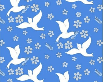 White Doves on Blue background - Quilting Cotton [[by the half yard]]
