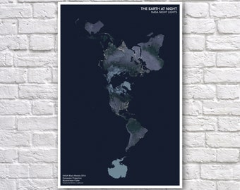 NASA Earth at Night Poster - Night Lights Image - Buckminster Fuller Projection - World Map Poster