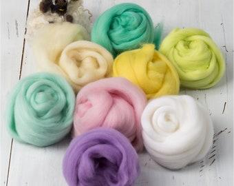 Easter Theme Merino Wool Tops, Roving, 23 microns, Needle Felting Set.