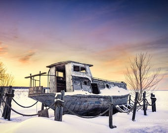 Lake Superior Winter Photo, Old Fishing Boat, Nature Photography, Fine Art Print, Purple Yellow White, Sunset Colors, Northern Wisconsin