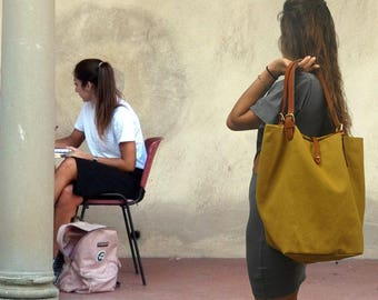 Handmade shopping bag made in mustard canvas-leather ,DENISE ,made to order