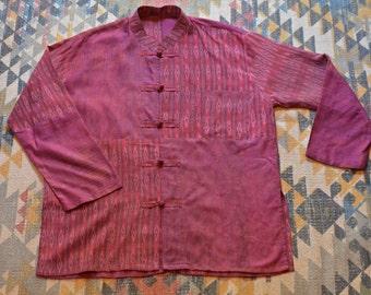 Vintage Patchwork Design Mandarin Collar Tunic Top//Size Large-XLarge//Bohemian//Boho//Hippie