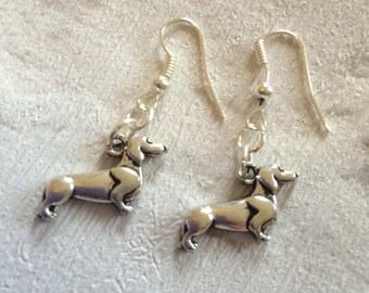 Dachshund Dog Earrings, Dachshund Earrings, Dog Earrings, Dog Jewellery, Animal Earrings, Dog Lovers Gift, Dog Charms, Silver Earrings.