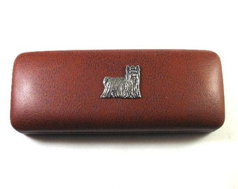 Yorkshire Terrier Hand Cast Pewter Motif on Brown PU Leather Glasses Case Christmas Gift Dog Gift