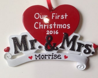 Mr. and Mrs. Personalized Ornament - Newlyweds - First Married Christmas - Anniversary - Christmas Ornament , Wedding Gift, Bridal Shower