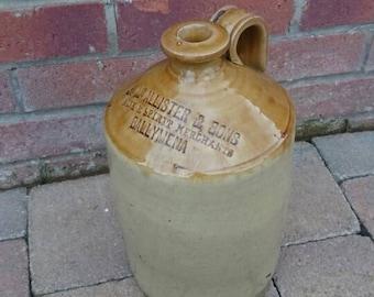 Antique Extremely rare Irish Ballymena whiskey flagon found in the mud of Ireland