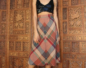 70s Vintage Plaid Wool Skirt - 70s Wool Skirt - Long Plaid Skirt - Midi Skirt - High Waist Skirt - Retro Plaid Skirt - Extra Small Skirt