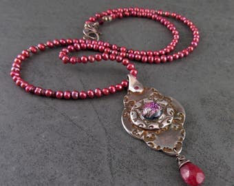 Victorian necklace, Handmade eco friendly fine silver, pearl, ruby necklace-Christabel medallion OOAK