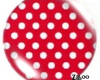 1 cabochon 30mm glass, raspberry polka dots