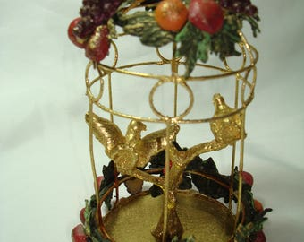 Vintage Golden Christmas Two Turtle Doves in Birdcage with Miniature Faux Sugared Fruit.