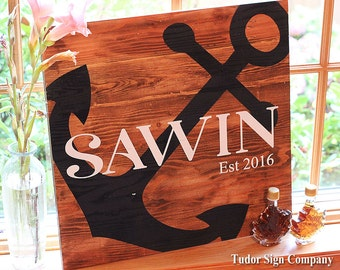 Anchor Sign Family Established Name Sign Shiplap Sign Custom Wedding Guest Book Personalized Anniversary Engagement Gift Coastal Beach Decor