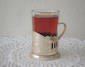 Vintage Tea Glass Holder Russian USSR Podstakannik metal tea cup holder Russian Soviet vintage home decor Kitchen tea soviet Made in USSR