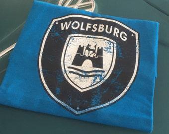 Volkswagen Wolfsburg Crest Full front print on Vintage Blue 50/50 cotton poly T-shirt S-2XL.