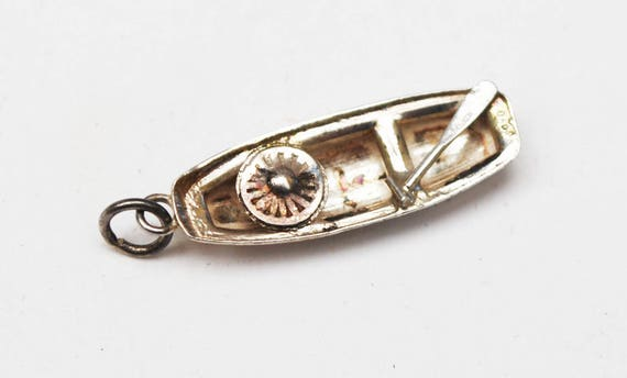 Vintage Silver  Canoe Charm - 90 % silver - small pendant - oars hat