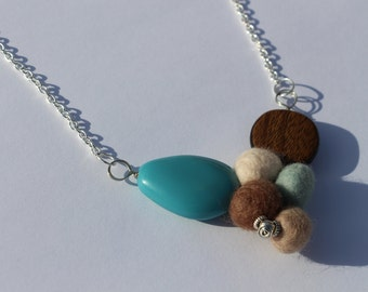Sand and Sea Turquoise and Brown Free Form Resin and Felt Pebble Necklace