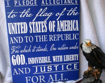 Wooden Plaque *Pledge of Allegiance* with Wire Hanger