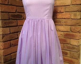 1950s vintage inspired tea dress Lavender polka dots - READY TO SHIP