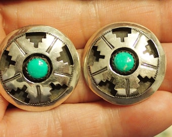 Round Sterling and Turquoise Earrings Post