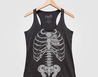 Halloween Skeleton Women Tank Top Triblend Racerback Tank Top Hand Screen Print