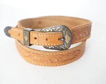 Vintage Southwestern  Tan Floral Tooled Belt- Women's Size 32