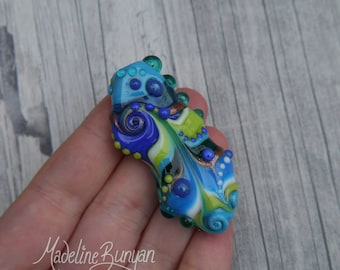 Bright Crazy Bead, Turquoise Lime green and blue with Swirls, warped, weird, crazy Lampwork Focal Bead, spiral, dotty