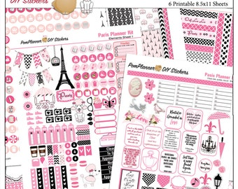 Planner Kit! Paris France Printable  Sticker Kit in Pink & Black 6 PDF Poodles, Macaroons, Eiffel Tower Coffee Cameo French