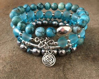 Gemstone Bracelets-Beaded-Bracelet Set-Stretch-Boho Jewelry-Blue-Hematite-Silver Accents-Endless Knot Charms-mSs-Boho Chic-Crystals