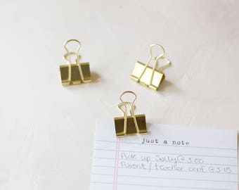 Gold Large Metal Binder Clips - 6 pc