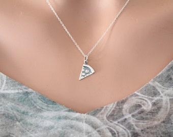 Sterling Silver Pizza Charm Necklace, Pizza Necklace, Silver Pizza Necklace, Pizza Lover Necklace, Pepperoni Pizza Necklace, Pizza Charm