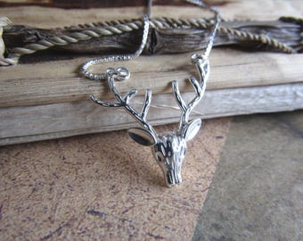 Stag head necklace, deer necklace, sterling silver necklace, antler necklace, reindeer necklace