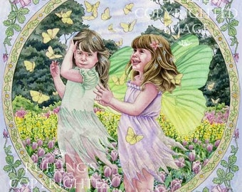 Fairies, Butterflies, Tulips, Fine Art Fantasy Print, Yellow, Green, Floral Border, Signed Elizabeth Ruffing, on 8.5 x 11 inch art paper