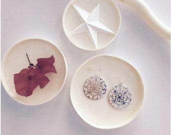 metal round earrings Silver 3 cm