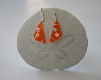 Silver Spiral & Orange Recycled Glass Earrings
