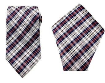Mens Necktie Maroon Blue White Checks 8.5 CM Necktie with Pocket Square. Maroon Wedding Tie. Necktie Pocket Square. Groomsmen Necktie