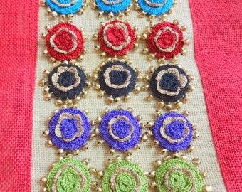 Buttons, Crochet Buttons, Decorative Buttons, Handmade Sew on Buttons, Buttons with Metal Bells - 3 pcs Blue