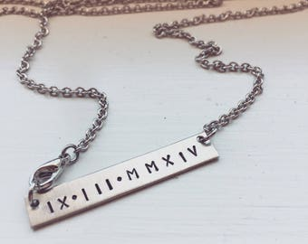 Personalized name plate bar necklace handstamped with any name date or short saying