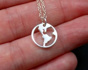World peace necklace etsy sterling silver world necklace globe necklace western hemisphere necklace friendship necklace world aloadofball Choice Image